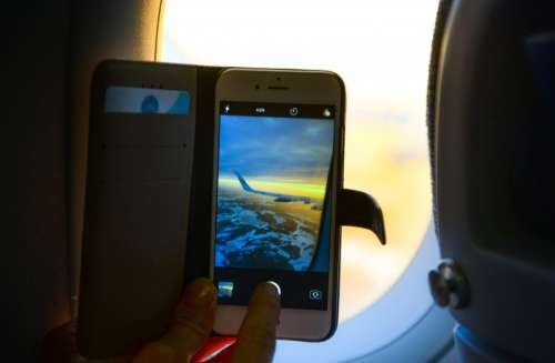 Smartphone on a plane