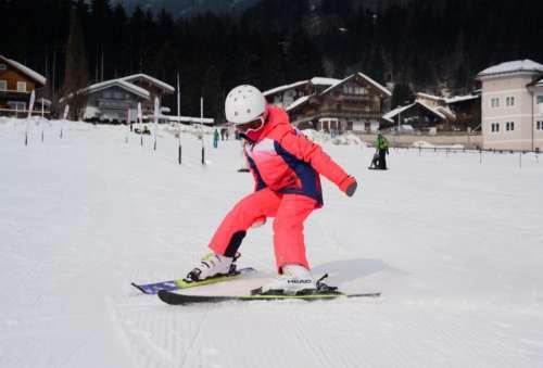 Girl learning to ski