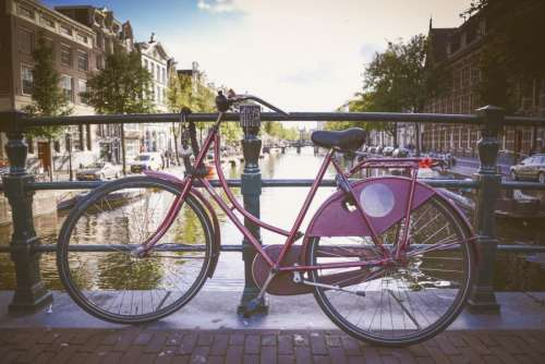 Parked bike at a canal