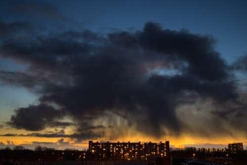 Rain cloud above flat