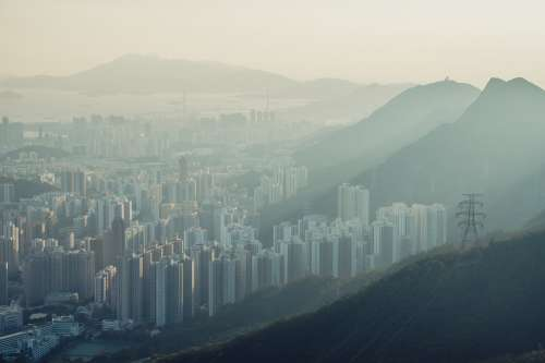 A Misty View Over A Suburb In Hong Kong Photo