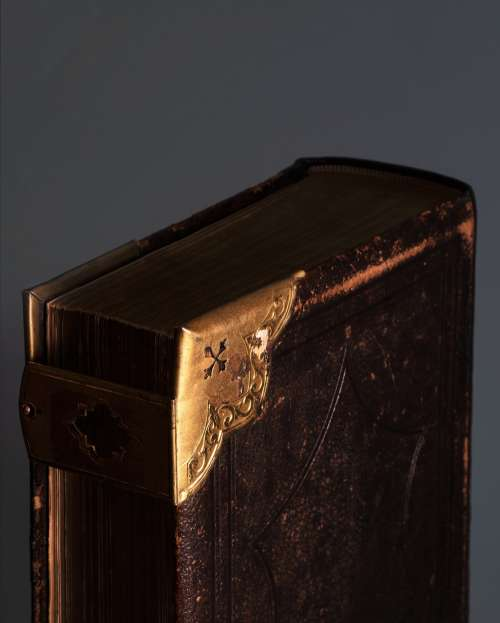 Brass Corners On Leatherbound Book Photo