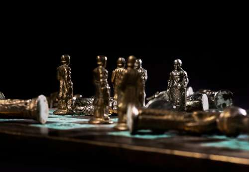 Meeting Of Pawns In Chess Game Photo