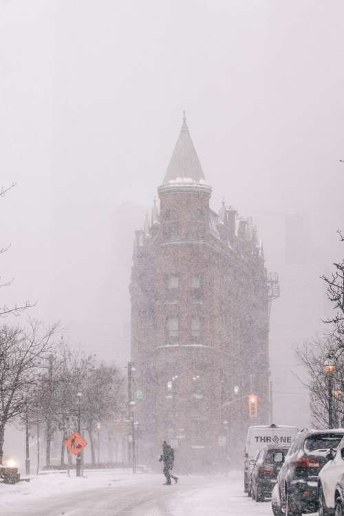 Pedestrian Crossing Toronto Street In Snow Storm Photo