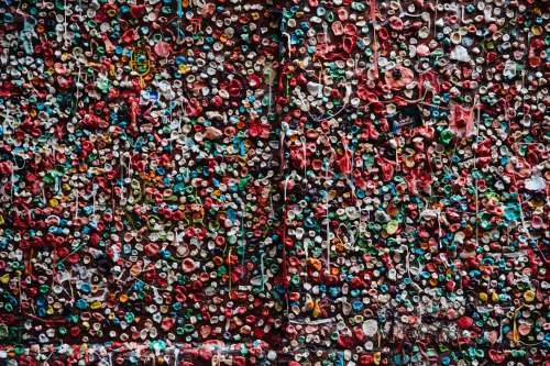 Wall Covered In Chewing Gum Photo