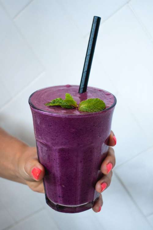 Colorful purple healthy smoothie