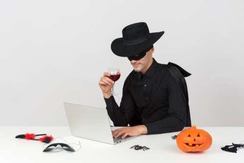 Being Zorro And Drinking Wine Is My Kind Of Work Day