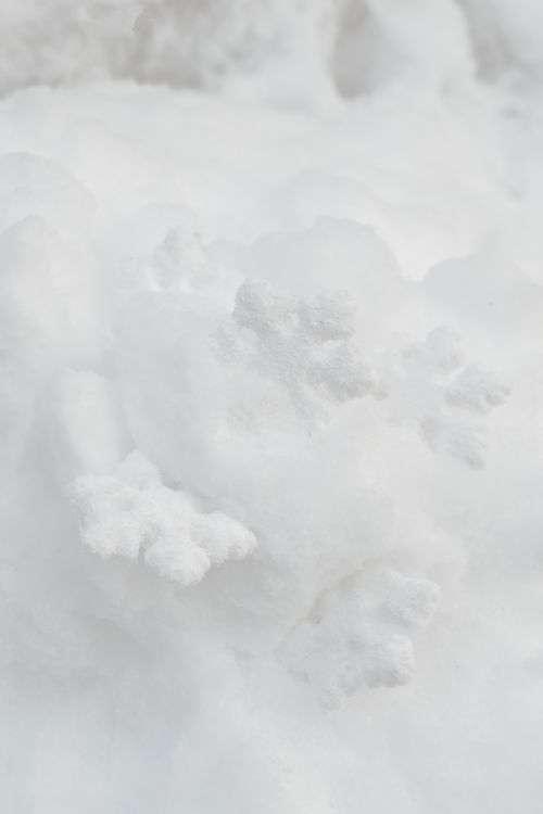 Decorative snowflakes on fresh snow