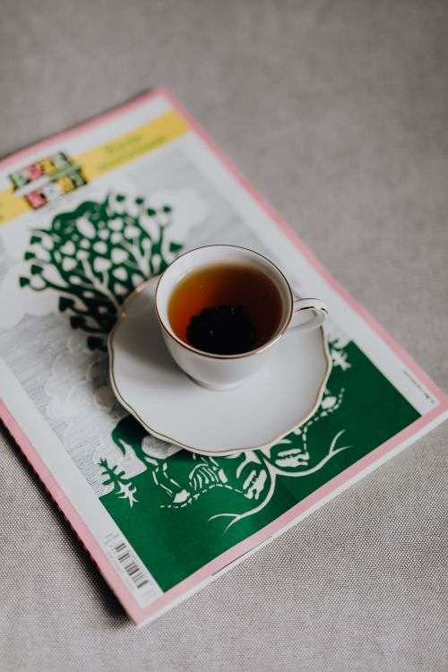 Cup of tea and newspaper