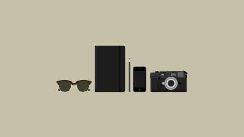 sunglasses mobile pencil notepad camera