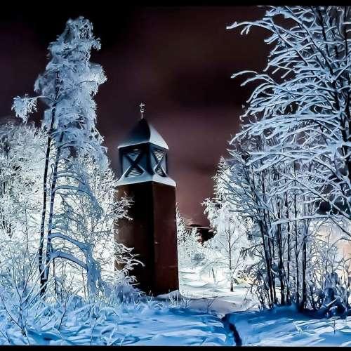 Winter cold snow night