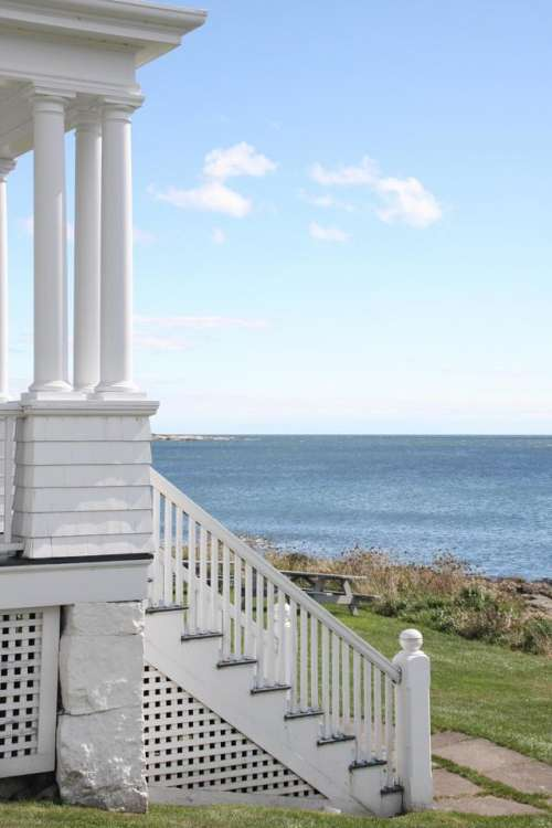Maine Owls Head Light Clouds Sky Weather Porch