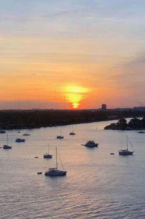 sunrise sunset water harbor