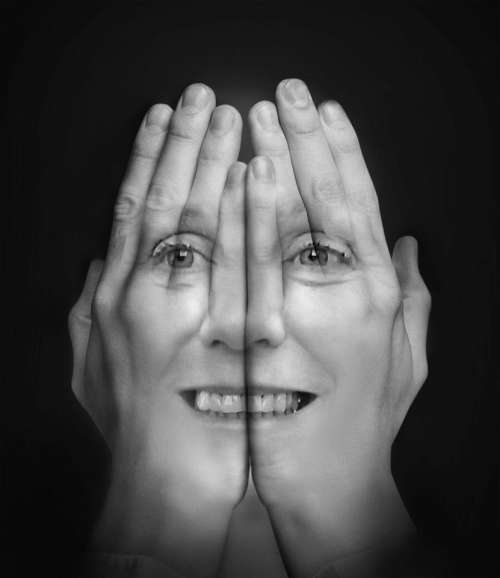 woman female smiling double exposure hands