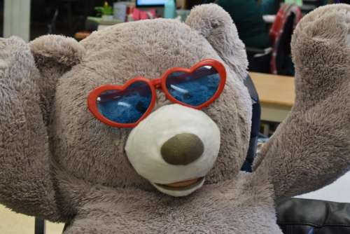 Happy Teddy bear heart glasses love fun