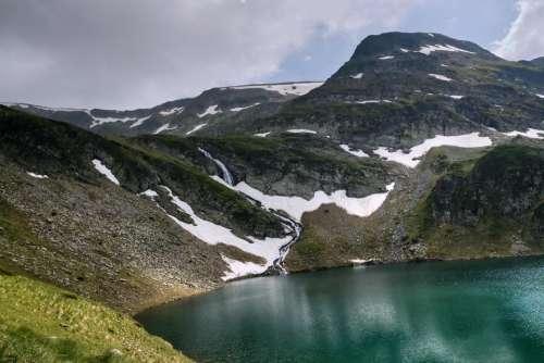 landscape peak lake rocks