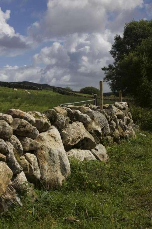 Stone Wall Stone Stone Texture Field Cloud