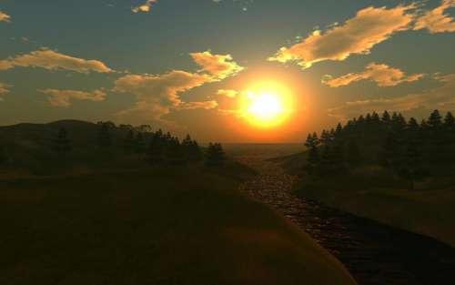MUVE virtual worlds sunset DigiWorldz sun