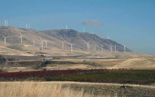 Wind farm turbine mountain power energy
