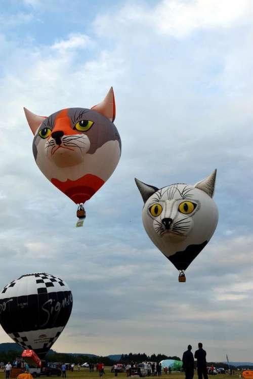 Hot air balloon preparation inflation start sky