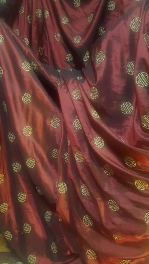 Red Fabric Asian Silk Textile
