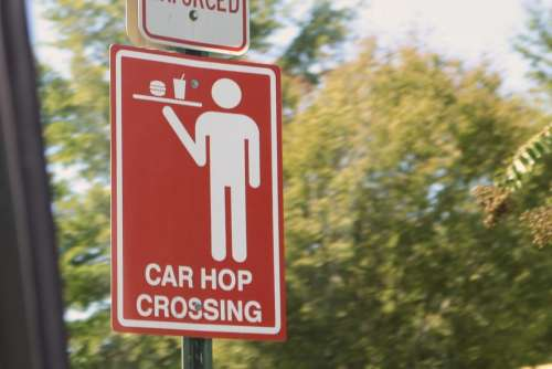 sign car hop food restaurant service