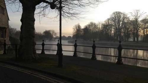 Abingdon on Thames Bitter cold gloomy thames river