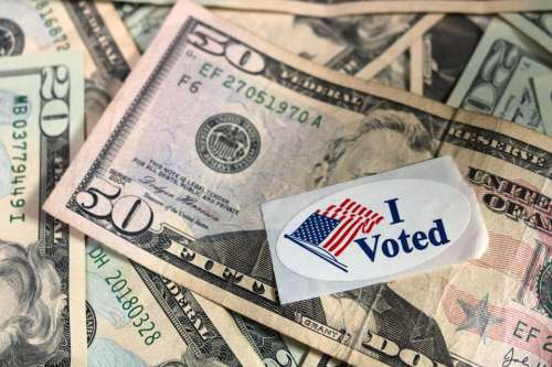 money currency banknote sticker I Voted