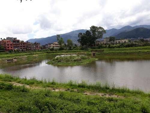 Lake pond water town Nepal