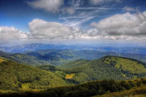 mountain landscape peak high tourism