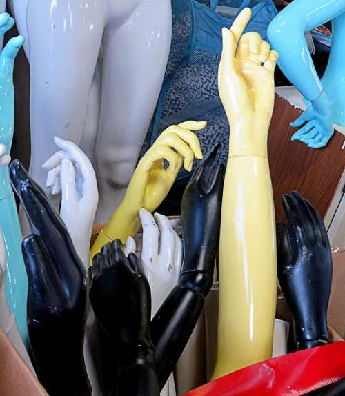 hands mannequin artificial arms reaching