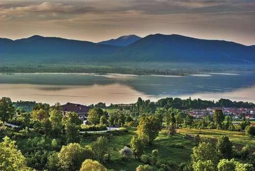 evening village landscape lake