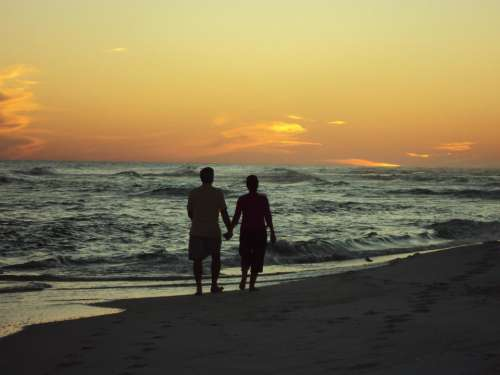 sunset beach seashore romantic love