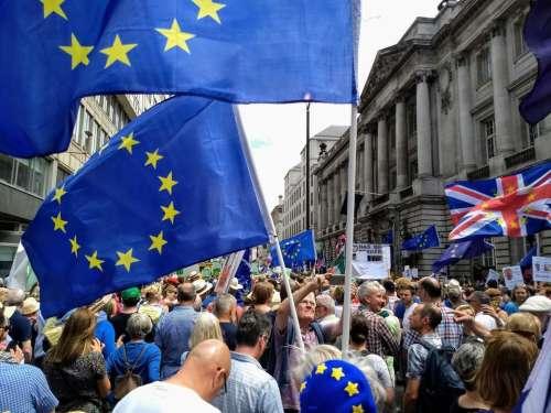 brexit demonstration flags eu union jack