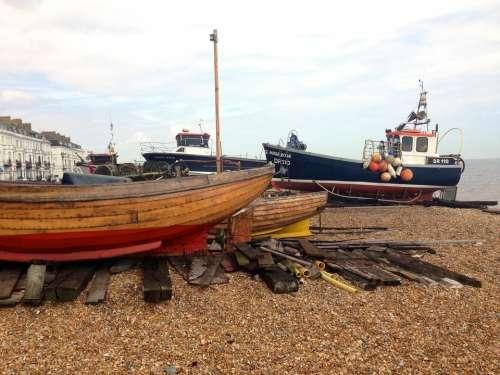 boats moored beach shingle fishing