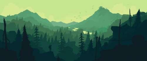 illustration mountains scenic monochrome green