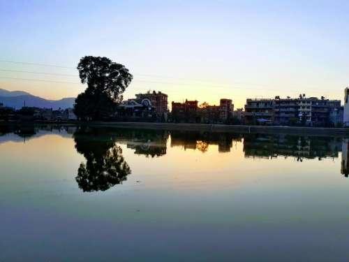 Nepal lake reflection water