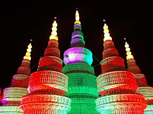 castle rainbow colors dark