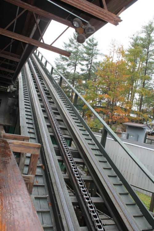 Knoebels Phoenix roller coaster lift hill wood