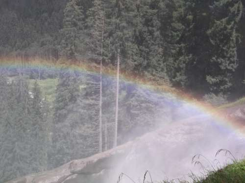 rainbow waterfall refraction light color