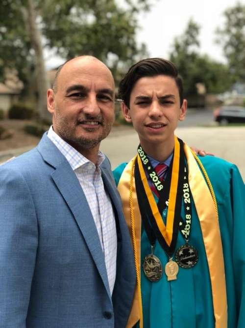 father son graduation celebration ceremony