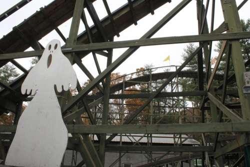 Knoebels Halloween Phoenix roller coaster wooden