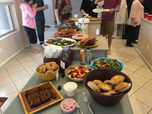 food buffet potluck family spread