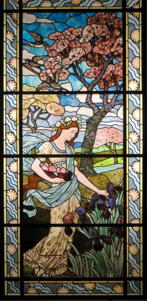 stained glass woman maiden Art Nouveau window
