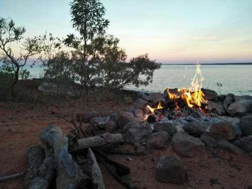 nature sunset campfire camping wood