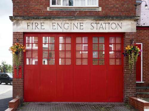 red doors fire fire engine fire station