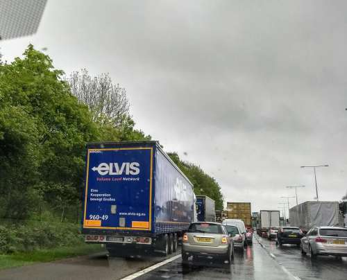 elvis truck lorry traffic jam rain