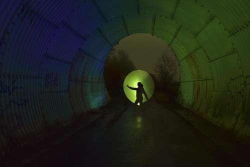 tunnel illuminate silhouette reflection colorful
