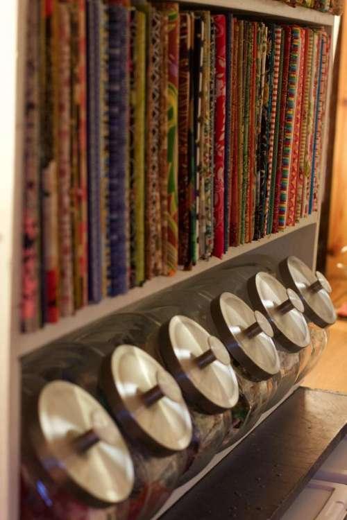 Fabric Studio Knitting Needles Candy Jar Glass Jars