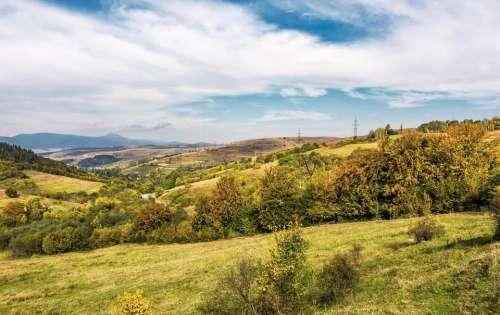 countryside mountain landscape autumn village